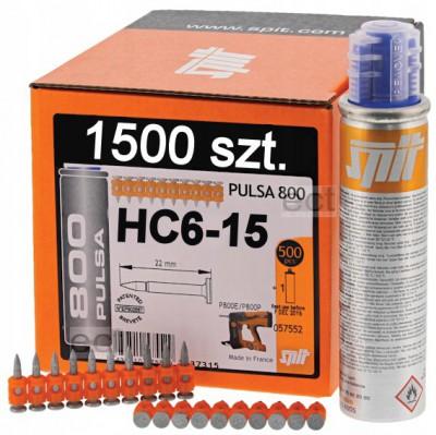 Gwoździe HC6-15 1500 sztuk + gaz Spit (nr kat. 57559)