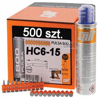 Gwoździe HC6-15 500 sztuk + gaz Spit (nr kat. 57550)