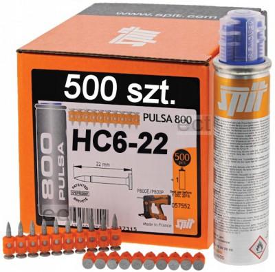 Gwoździe HC6-22 500 sztuk + gaz Spit (nr kat. 57552)