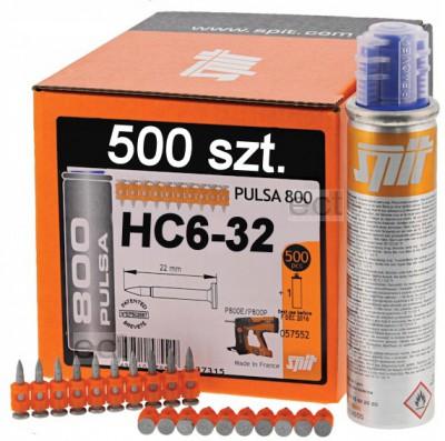 Gwoździe HC6-32 500 sztuk + gaz Spit (nr kat. 57554)