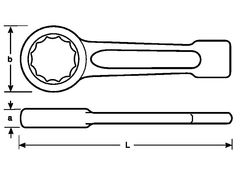 Klucz oczkowy udarowy do pobijania 12-kątny 42 mm Bahco (nr kat. 7444SG-M-42)