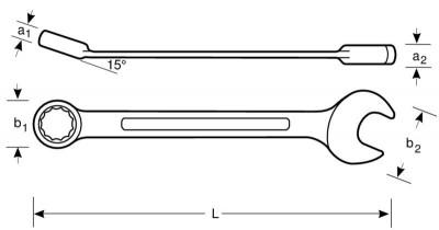 Klucz płasko-oczkowy nierdzewny 15 mm Bahco (nr kat. SS002-15)