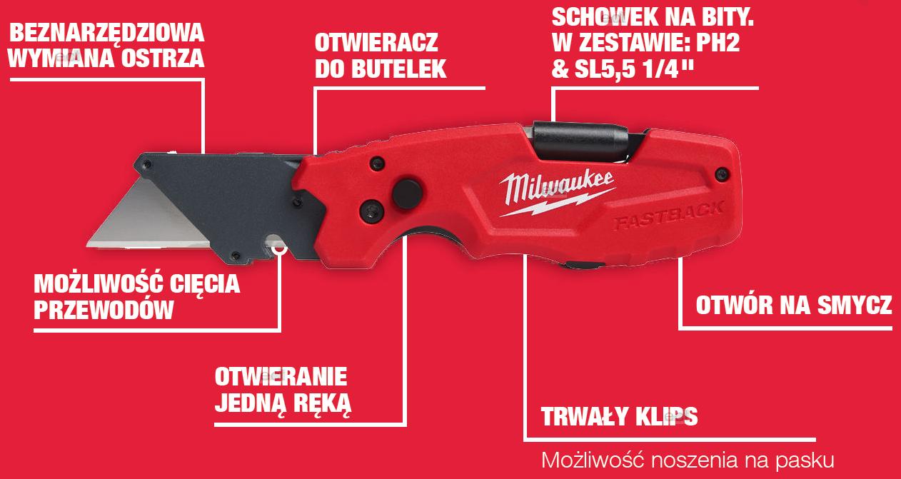 Nóż wysuwany z ostrzem trapezowym 6w1 FASTBACK MILWAUKEE (nr kat. 4932478559)