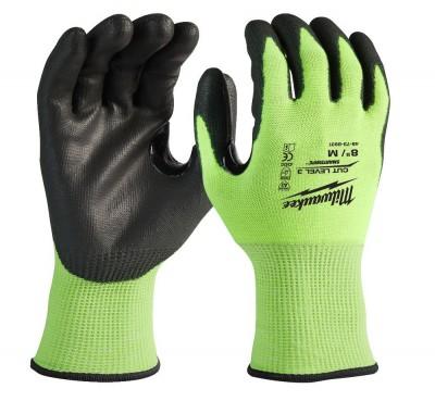 """Rękawice robocze antyprzecięciowe odblaskowe rozm. """"XL"""" Poziom 3 HI-VIS MILWAUKEE (nr kat. 4932478133)"""