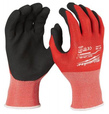 """Rękawice robocze antyprzecięciowe rozm. """"M"""" Poziom 1, 12 par MILWAUKEE (nr kat. 4932471614)"""