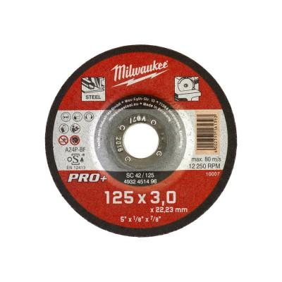 Tarcza do cięcia metalu fi 125x3 mm wypukła PRO+ MILWAUKEE (nr kat. 4932451496)