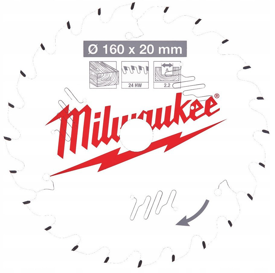 Tarcza pilarska do drewna Ø 160 x 20 mm 24 zęby MILWAUKEE (nr kat. 4932471290)