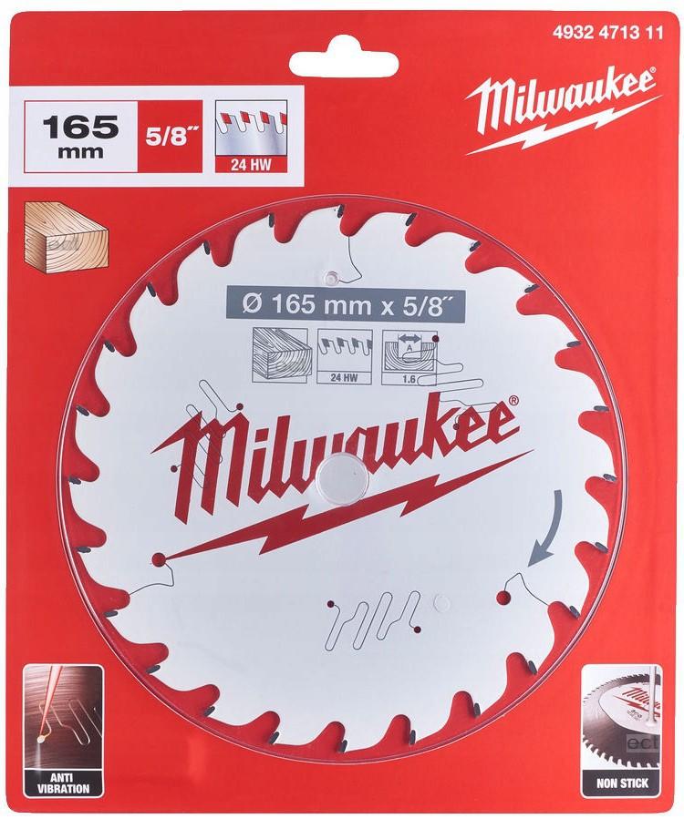 Tarcza pilarska do drewna Ø 165 x 15,87 mm 24 zęby MILWAUKEE (nr kat. 4932471311)