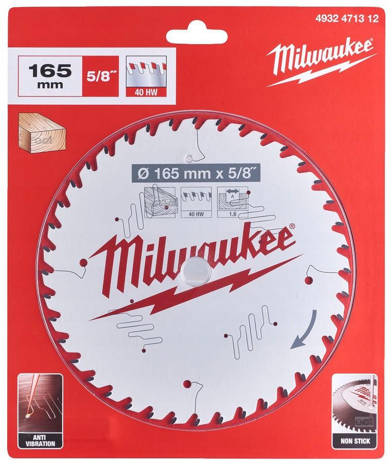 Tarcza pilarska do drewna Ø 165 x 15,87 mm 40 zęby MILWAUKEE (nr kat. 4932471312)