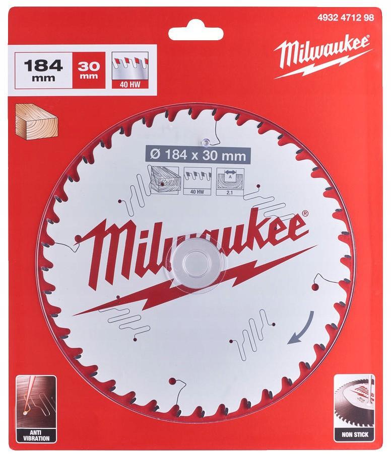 Tarcza pilarska do drewna Ø 184 x 30 mm 40 zębów MILWAUKEE (nr kat. 4932471298)