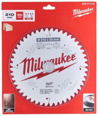 Tarcza pilarska do drewna Ø 210 x 30 mm 48 zębów MILWAUKEE (nr kat. 4932471325)