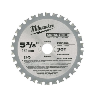 Tarcza pilarska do metalu 135 x 20 mm 30 zębów Milwaukee (nr kat. 48404070)