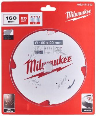 Tarcza pilarska do płyt G-K, płyt cementowych Ø 160 x 20 mm 4 zęby MILWAUKEE (nr kat. 4932471293)