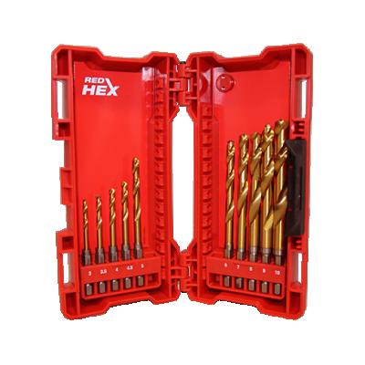 Wiertła do metalu HSS-G TiN RED HEX zestaw 10 szt. + zestaw bitów 33 szt. Shockwave MILWAUKEE (nr kat. 4932478900)