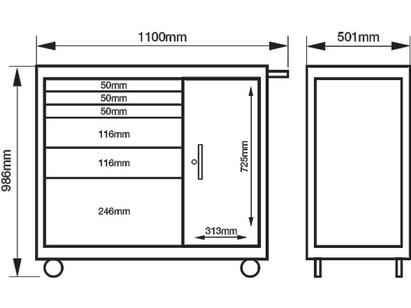 Wózek warsztatowy 6 szuflad Bahco (nr kat. 1475KXL6C)