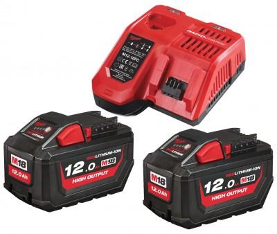 Zestaw akumulatorów 2 x M18 12.0 Ah + ładowarka NRG122 MILWAUKEE