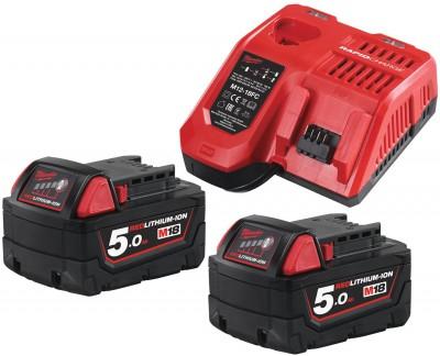 Zestaw akumulatorów 2 x M18 5.0 Ah + ładowarka NRG502 MILWAUKEE