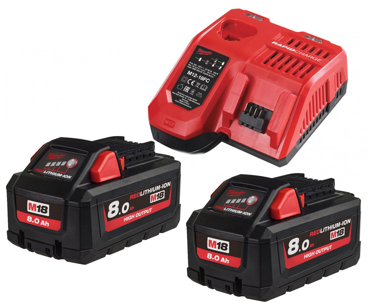 Zestaw akumulatorów 2 x M18 8.0 Ah + ładowarka NRG802 MILWAUKEE