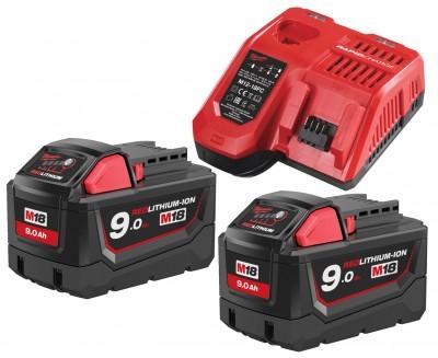 Zestaw akumulatorów 2 x M18 9.0 Ah + ładowarka NRG902 MILWAUKEE