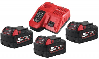 Zestaw akumulatorów 3 x M18 5.0 Ah + ładowarka NRG503 MILWAUKEE