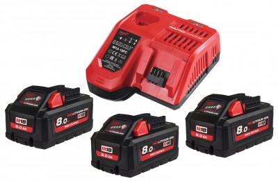 Zestaw akumulatorów 3 x M18 8.0 Ah + ładowarka NRG803 MILWAUKEE