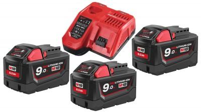 Zestaw akumulatorów 3 x M18 9.0 Ah + ładowarka NRG903 MILWAUKEE