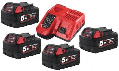 Zestaw akumulatorów 4 x M18 5.0 Ah + ładowarka NRG504 MILWAUKEE