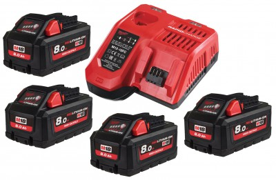 Zestaw akumulatorów 4 x M18 8.0Ah + ładowarka NRG804 MILWAUKEE