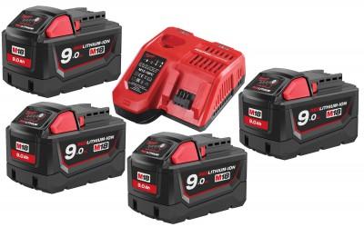 Zestaw akumulatorów 4 x M18 9.0Ah + ładowarka NRG904 MILWAUKEE