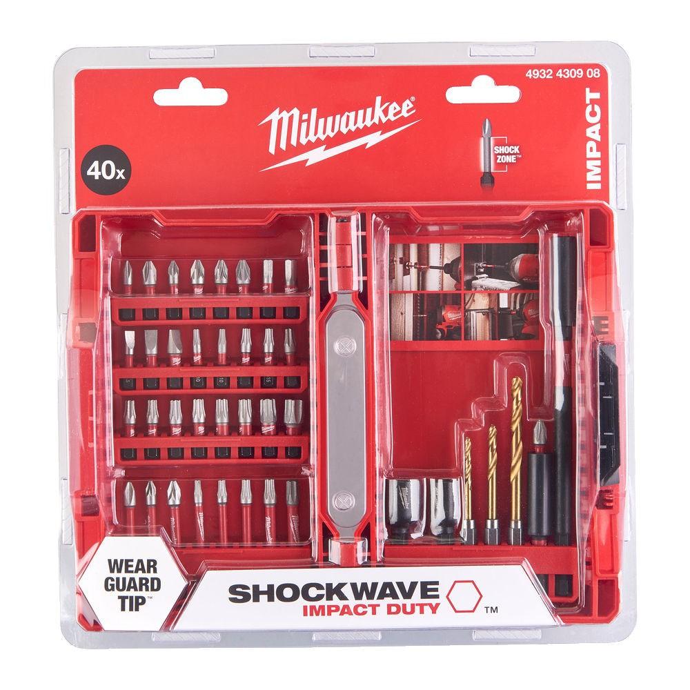 Zestaw bitów 40 szt. Shockwave + adapter kątowy Milwaukee (nr kat. 4932478906)