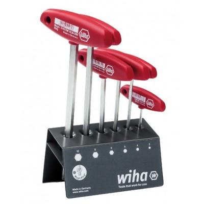 Zestaw kluczy trzpieniowych 6szt. HEX z rękojeścią T MagicRing niklowany na wysoki połysk WIHA (nr kat. 22096)