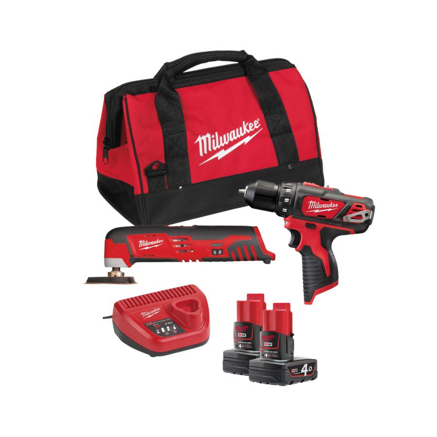 Zestaw narzędzi akumulatorowych POWERPACK M12 BPP2D-402B MILWAUKEE (nr kat. 4933441250)