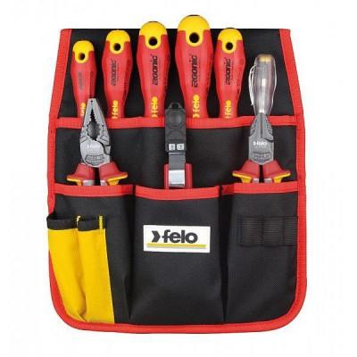 Zestaw narzędzi dla elektryka w kieszeni na pas VDE 1000V 9 szt. FELO (nr kat. 41399504)