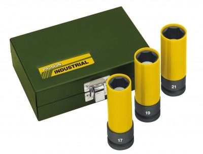"""Zestaw nasadek udarowcyh do felg aluminiowych 1/2"""" 17, 19, 21 mm PROXXON (nr kat. 23938)"""